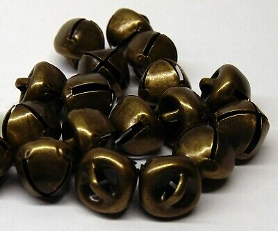 Lot 50 Antique Brass Finish Jingle BELLS 12mm - 13mm Primitive Steampunk 1/2""