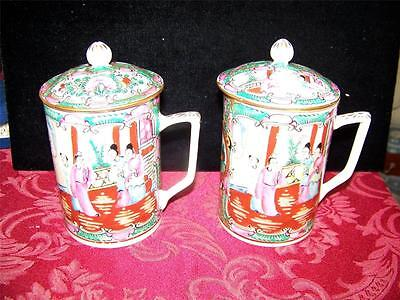 "Pair Vintage Porcelain Tea Cups w/Lid, China/Hong Kong, Hand Decorated , 5.5""H"