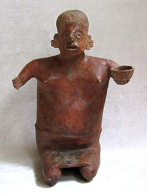 Pre-Columbian NAYARIT KNEELING FEMALE FIGURE WITH BOWL, circa 100 B.C.-250 A.D. • CAD $4,410.00