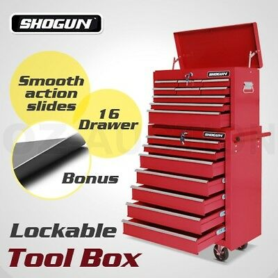 Shogun Mechanic Trolley Tool Box 16 Drawers Red Cabinet Toolbox Roller