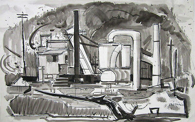 """PHIL DIKE Signed 1957 Original Watercolor and Ink Painting """"East of Claremont"""""""