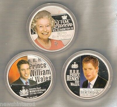 3 Australian Silver Coins - Queen Elizabeth Ii, Prince William & Henry