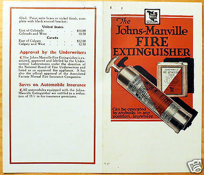 Early Johns-Manville Fire Extinguisher Flyer