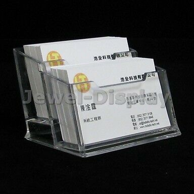 2Pcs 2-Step Clear Acrylic Holder Business Card Stand Price Display 10.5x6x5.5cm