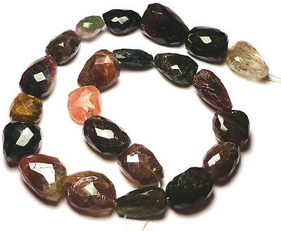 """PINK GREEN MULTI TOURMALINE FACETED NUGGET BEADS 232H 17""""Std 14x10x7-20x14x13mm"""