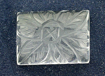 20x15 Rectangle Crystal Quartz Floral Carved Carving Cabochon Cab Gemstone B21A8