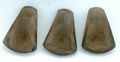 ONE 34x23 Polygon Doublet Smoky Quartz Crystal Mother Of Pearl Cabochon Gemstone