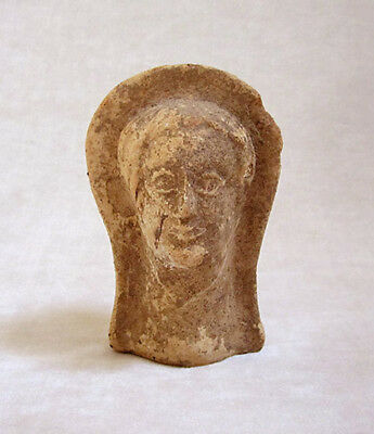 ANCIENT ETRUSCAN TERRACOTTA VOTIVE HEAD OF A MAN, circa 3rd - 2nd Century B.C.