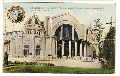 1909 postcard-End Elevation, Manufactures Building, AK-Yukon-Pacific Expo.
