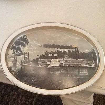 Vintage Serving Tray Never Used Queen Of The West Currier Ives Litho  Of 1866