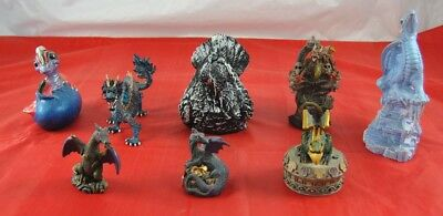Lot of 8 Ceramic & Plastic Dragon Statues Figurines 1 Stone Crow Painted  X4B28