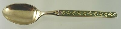 STERLING & GREEN ENAMEL w LEAF DESIGN DEMITASSE SPOON BY TH MARTHINSEN NORWAY