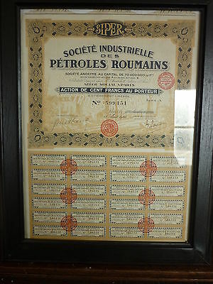 Action De 100 Francs Des Petroles Roumains De 1920
