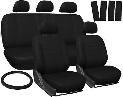 Car Seat Covers for Ford Focus Solid Black w/ Steering Wheel/Belt Pad/Head Rests