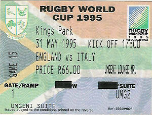 ENGLAND v ITALY 1995 RUGBY WORLD CUP TICKET 31 May at DURBAN