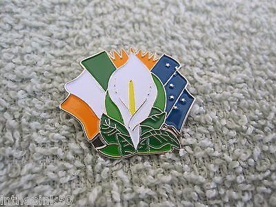 Easter Lily Badge Pin W/ Ireland Tri Color & Starry Flags Republican Irish Pin