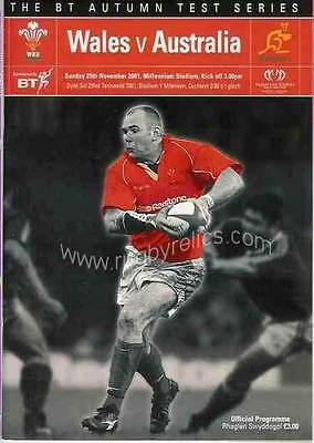 WALES v AUSTRALIA 2001 RUGBY PROGRAMME 25 Nov at CARDIFF