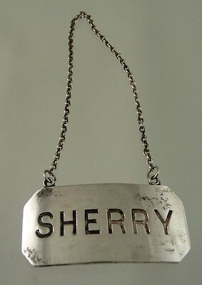 Sherry Plain Decanter Label Silver Plate By Birks