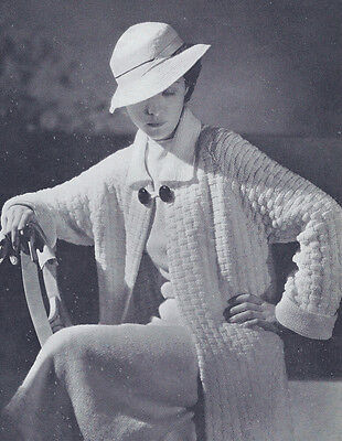 Vintage Knitting PATTERN to make - 1930s Knitted Coat Skirt Blouse Hat