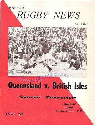 BRITISH LIONS v QUEENSLAND AT BRISBANE 1966 RUGBY PROGRAMME