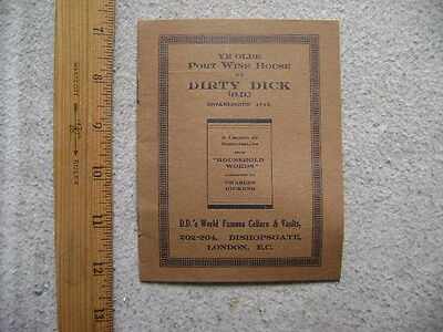 Small booklet- Port Wine House of Dirty Dick. History of Dirty Dick. ca. 1910??