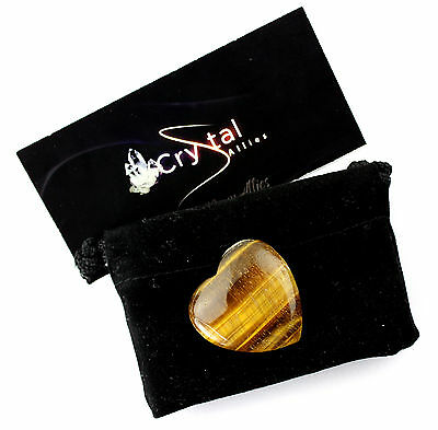 Crystal Allies Gallery: Natural 30mm Gold Tiger Eye Stone Worry Flat Heart