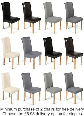Quality Faux Leather Dining Room Chairs Brown Black Grey Cream Ivory White Oak