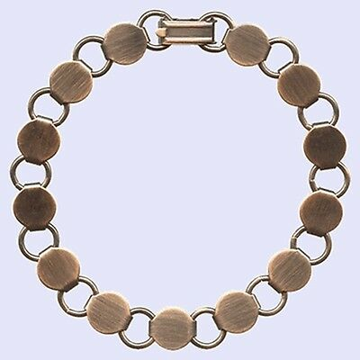 5 Antique'd COPPER BRACELET Blank FORM ~13 Pads~Add Cabochons Beads  Longer 8.2""