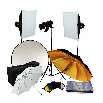 Softbox Umbrella Kit 3x180w Photo Studio Flash Strobe Light Trigger Set