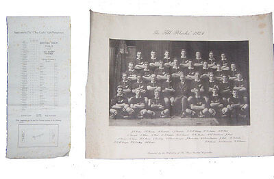 1924 All Blacks, Published By Wills Original Vintage  Rugby Print