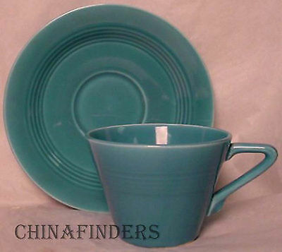 HOMER LAUGHLIN china HARLEQUIN Turquoise pattern CUP and SAUCER Set