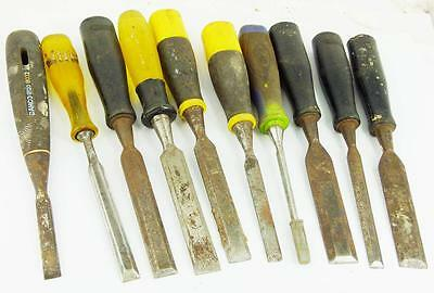 """Lot of assorted wood chisels 1  to 3/8""""  all good makers"""
