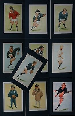 9 x SCOTLAND RUGBY PLAYER PRINTS by JOHN IRELAND MOUNTED READY FOR FRAMING