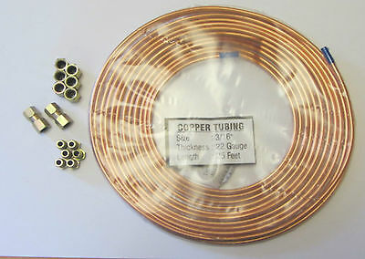 """COPPER BRAKE PIPE HOSE LINE 3//16/"""" X 25 FT 22G C//W 20 METRIC NUTS VAUXHALL"""