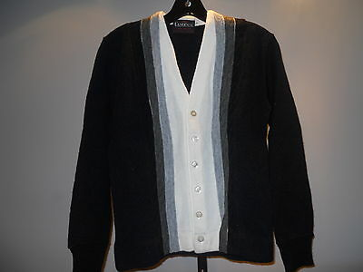 Nos Vintage Campus 1960s Black Cardigan Sweater Shirt Rocker Mod Teddy Boy 18