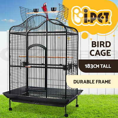 Bird Cage Pet Parrot Aviary Open Perch Roof Budgie Castor w/Tray XLarge 183cm