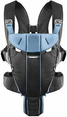 Baby Bjorn Miracle Baby Carrier in Black and Light Blue New!!