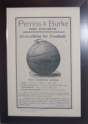 RUGBY PRINT 'Perrins & Burke' ball advertisement 1910 - FRAMED & GLAZED