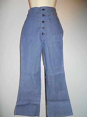 Nos 1960s Growing Girl Navy Blue Jeans Bell Bottoms High Waist Disco Vintage 14
