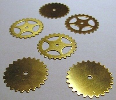 "MIXED Lot of 24 BRASS Watch GEARS~ 25mm/1"" ~ SteamPunk ~12 Solid + 12 Open Style"