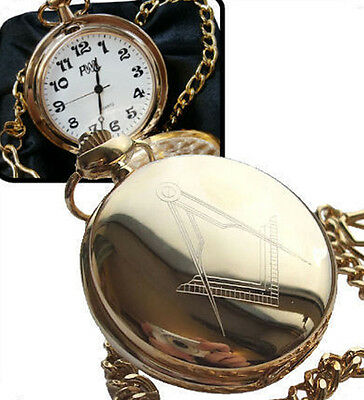 Personalised Gold Plated Masonic Pocket Watch, Gift Boxed and Engraved