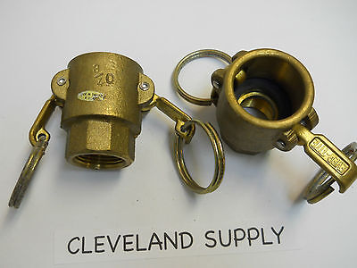 """Ever-Tite 3/4 O Brass Cam & Groove Coupling 3/4"""" Female Npt (Set Of 2)  New"""