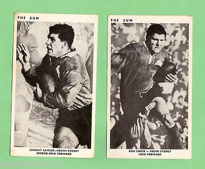 1967 Sun Newspaper Rugby League Cards - South Sydney Rabbitohs