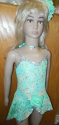NWT NWT GLITTERED SEQUINED SKIRTED LEOTARD Pistachio grfeen Dance Costume