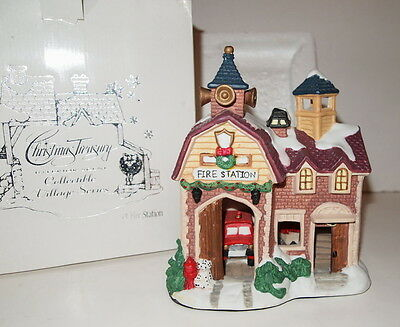 Christmas Treasury Village Series Fire Station House w/ Interior Scene Porcelain