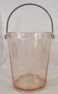 Eden Rose Ice Bucket Paden City Pink Elegant Glass Etched Flowers Bow Leaves