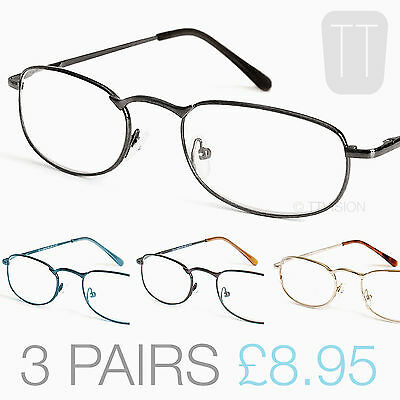 THREE PAIRS Quality Rimmed Reading Glasses - Grey/Blue/Gold +1+1.5+2.0+2.5+3+3.5