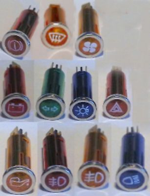 11 Dashboard warning lights with Icons suit FIAT Cars 1950-70s
