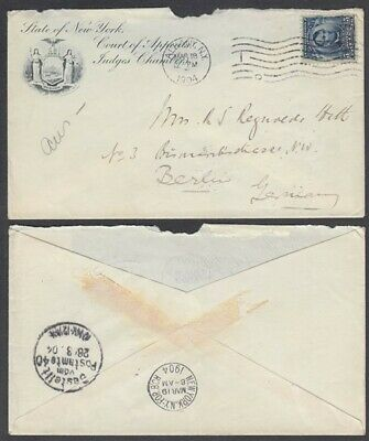 US 1904 COVER TO GERMANY INDENT COURT OF APPEALS JUDGES CHAMBERS