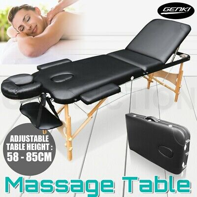 3-Section High Density Foam Massage Table Chair Bed Black Portable w/ Carry Bag